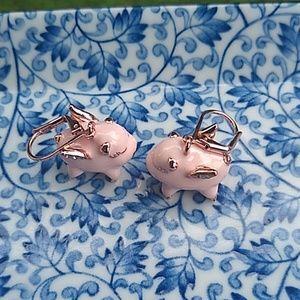 Kate Spade enamel pig earrings